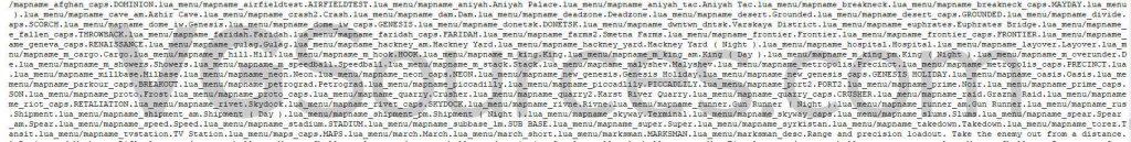 Modern Warfare Map list via in-game files