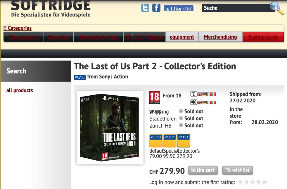 The Last of Us 2 Release Date - Editions Lisiting